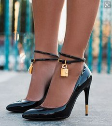 Wholesale Golden Mahogany - 2017 Hot sale Summer Luxury brand Golden Lock Ankle Strappy Buckle Sexy Women Pumps High Heels Wedding Party Shoes Woman Sandals