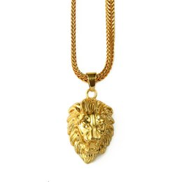 Wholesale Lion Necklace Unisex - 2017 Mens Gold Lion Head Charm 29.5inch Franco Chain Hip Hop Golden Crown King Lion Pendant Necklace Men Women