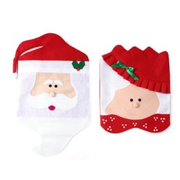 Wholesale Dining Table Cloth Cover - Lovely Mr & Mrs Santa Claus Christmas Dining Room Chair Cover Seat Back Cover Coat Home Party Decor Xmas Table Festival Decoration