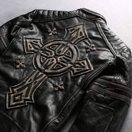 Wholesale Genuine Motorcycle Jackets - men leather motorcycle coats milling on the Edged cowhide genuine leather jacket back with Stamped cross