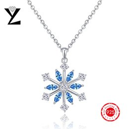 Wholesale 925 Sterling Silver Supplies - Christmas Gift!! Charm 925 Sterling Silver Snowflake Pendants Necklace for Women Christmas Decoration Supplies Jewelry Findings