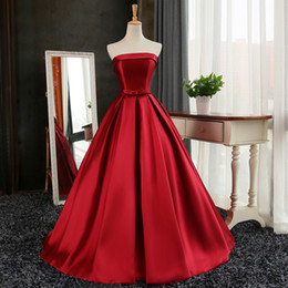 Wholesale Strapless Ivory Evening Gowns - Strapless 395 Satin Long Evening Dresses Lace Up 2017 Burgundy Red Evening Gowns Elegant Robe De Soiree
