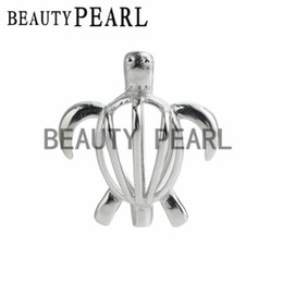 Wholesale 925 silver turtle - 5 Pieces Animal Locket Gift Cage 925 Sterling Silver Love Wish Pearl Turtle Cage Pendant Charm