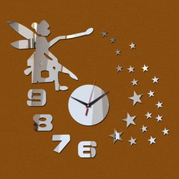 Wholesale Number Kids Wall Clock - Wholesale-2016 new wall clock reloj de pared angel stars diy clocks luxury mirror number watche decor 3d on the kids room free shipping