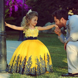 Wholesale Wedding Gown Purple Stone - Saidmhamad Flower Girl Dresses With Applique Two Stones Yellow and Dark Blue Ball Gown First Communion Dress for Girls