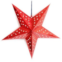 Wholesale Star Paper Lantern - Wholesale-LHLL-Fashion Xmas Decor Pentagram Lampshade Star Paper Lantern Hanging Wedding Accessories Red
