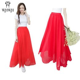 Wholesale Straight Long Skirts Women - Women Chiffon long saia Candy Color Pleated Women Skirts 2017 Summer Skirts in floor 100cm length 19Colors long saia