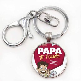 Wholesale Papa Jewelry - new fashion je t'aime papa keychain fathers gifts j'ai un super papa key chain ring holder for dad men jewelry