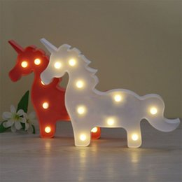 Wholesale 3d Sign Letters - Lumiparty Unicorn LED Table Lamp 3D White Unicorn Sign Hanging Light Marquee Letter Nightlight Home Party Decoration