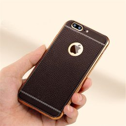 Wholesale Iphone Luxury Leather Chrome Case - Litchi Leather Style Chrome Electroplating Luxury Soft TPU Case For iphone 7 Plus 6 6s Plus Samsung s7 s7 Edge s6 s6 Edge