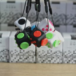Wholesale Cube World Toys - 11 colors 2017 new fidget cube Keychains the worlds first American decompression anxiety toys Keyring 2.2*2.2cm Free DHL