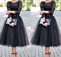 Sıcak Satmak Siyah Çay Boyu Dantel Korse Tül Etek Kokteyl Elbiseleri Uzunluk Kollu Ile 2017 Yeni Balo Abiye Nedime Parti Elbise Balo nereden