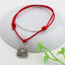 Wholesale Happy Birthday Bracelet - MIC 60pcs Red Waxes rope Antique silver happy birthday Charm Adjustable Bracelet B-51