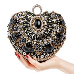 Sacs de soirée en forme de coeur doigt bague d'embrayage diamants sac à main perler embrayages chaîne Messenger Vintage perles sac de mariage strass ? partir de fabricateur