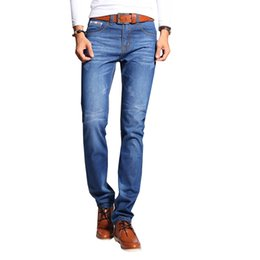 Wholesale Mens Capris Wholesale - Wholesale- Jeans Men Levy Jeans Mens Skinny Jeans Brand Trousers Straight Male Pant Classic Solid Stretch Full Length N-ZK066