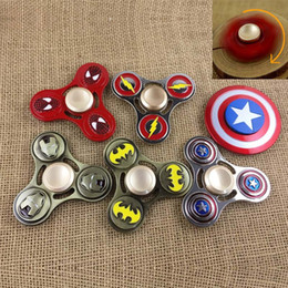 Wholesale Avenger Toys - New US Captain Fidget Cube Avenger Union Iron Man Metal Fidget Spinner Tri Ball Desk Focus EDC Hand Spinner Tangle Fidget TOYS DHL