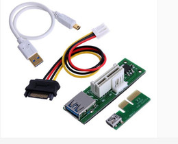 Wholesale Usb Extended - Mini PCI-E X1 extension cable to be powered PCIE 1X extended expansion card 90 degree right angle
