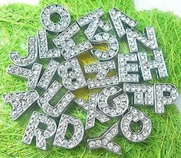 Wholesale Diy Rhinestone Slide Letters - Wholesale 10mm 1300pcs lot A-Z full rhinestones bling Slide letters DIY Accessories fit for 10mm wristband keychains