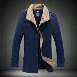 Wholesale Winter Style Jacket For Men - Wholesale- 2016 New Arrival Winter Mens Trench Coats British Style long jacket and coat for men Slim Fit Mens fur parkas Overcoat
