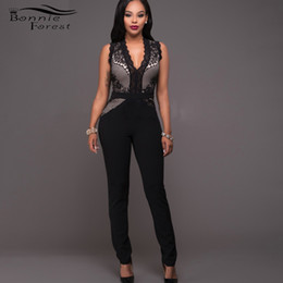 Wholesale lace rompers xs - Wholesale- Bonnie Forest Sexy Chyna Black Nude Lace Accent Jumpsuit Summer Womens Sexy Skinny Lace Stitching Club Rompers One Piece Outfits