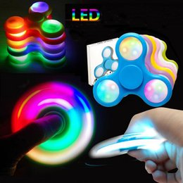 Wholesale Wholesale Fingertip Lights - Hot Style LED Lights Handspinner Luminous Hand Spinner 3D Fingertips Torqbar Fidget Spinner Decompression Toys