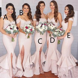 Wholesale different color pink bridesmaid dresses - Different Styles Gorgeous Sequined Mermaid 2017 Bridesmaid Dresses Long Wedding Guest Dress Sweep Train Luxury Evening Gowns for Bridesmaids