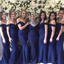Wholesale Cheap Elegant Short Dresses - Elegant Navy Blue Off the Shoulder Bridesmaid Dresses Lace Appliqued Sequins Mermaid Long Maid Of Honor Gowns Cheap Wedding Guest Dresses