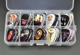 Wholesale Guitar Picks Bands - Wholesale- New 100pcs Medium Guitar Picks Plectrums Rock Bands GNR The Beatles QUEEN ACDC LED Zeppelin With Box