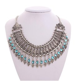Wholesale Festival Chic - 30pcs Gypsy Bohemian Beachy Chic Coin Statement Necklace Boho Festival Silver Fringe Bib Coin Ethnic Turkish India Tribal F76