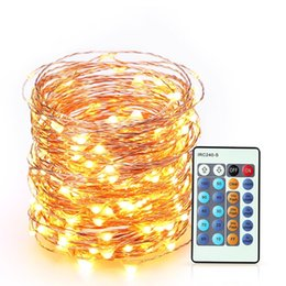 Wholesale Solar Room Lights - Outdoor LED Lights Flexible Dimmable Copper Wire Lights 33ft 100 LED Waterproof Starry Lights with Remote Control for Garden, Room, Wedding