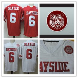 Wholesale Bell Shorts - Mens Red cheap Saved By The Bell Movie Football Jersey White Stitched #6 AC Slater Bayside film Jersey Size S-3XL