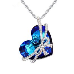 Wholesale Bowtie Necklaces - 2017 Fashion Heart of The Ocean Bowtie Pendant Necklace Plated Gold Made with SWAROVSKI Crystal CZ Diamond Necklace