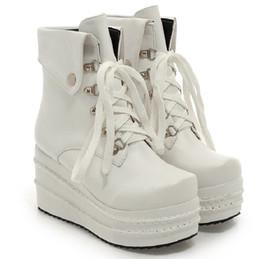 Wholesale Lolita Winter Boots - Wholesale- Ladies Women Punk Rock Lolita Wedge Heel Lace Up White Black High Casual Platform Ankle Boots 2015 Winter Autumn Shoes Plus