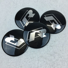 Wholesale Gti Logos Sticker - 65mm GTI R Logo Aluminium Car Wheel Hub Center Caps Emblem Sticker For VW Golf 6 7 Passat CC Polo Tiguan Touran Lamando