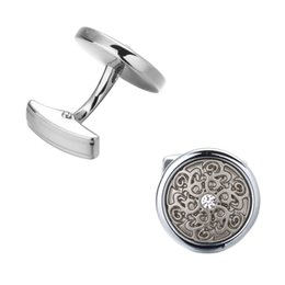 Wholesale Engraving Reliefs - Laser engraving laser metal relief retro pattern high-quality Brass Round Crystal shirt cuff link