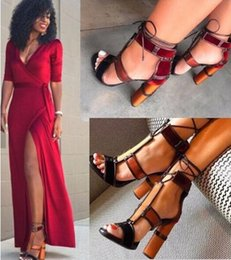 Wholesale Denim Pumps - Denim Paneled Leather Ankle Strap Summer Sandal Boots Thick Square High Heel Boots Shoes Woman Rome Gladiator Lace Up Pumps