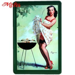 Wholesale Ordering Metal Art Wholesale - Wholesale- [ Mike86 ] Pin-up Lady Tin sign Art wall Festival decoration Pub Cafe Bar Party Vintage Metal Painting A-254 Mix order 20*30 CM