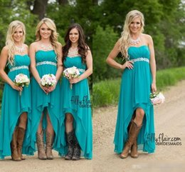 Wholesale Teal Strapless Lace Dress - Country Bridesmaid Dresses 2016 Cheap Teal Turquoise Chiffon Sweetheart High Low Beaded With Belt Party Wedding Guest Dress Maid Honor Gowns