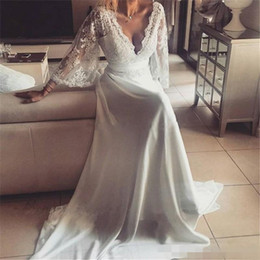 vestido de noiva de tafetá sexy fora do ombro Desconto Vestidos de noiva boêmio ilusão de renda vestido de noiva sem encosto manga comprida decote em v profundo vestidos de casamento boho chiffon plus size praia vestido de noiva