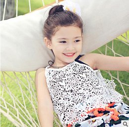 Wholesale Tee Shirt Crochet - Kids lace hollow out Tops Baby Girls Clothing suspender lace crochet vest Tops T-shirt kids cotton white Tees Girls Clothes T2321