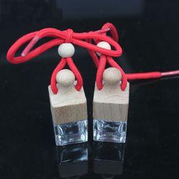 2019 muito bonito 500pc Vara broca DIY 6 ml garrafa em branco Quarteto transparente garrafa enfeites de carro garrafa de vidro carro frascos de perfume pendurado Quadrado cubo Pingente