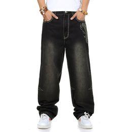 Wholesale Boys Baggy Jeans - Wholesale-Jeans men baggy black casual rap jeans loose pants hip-hop loose style hip hop jeans for boy big size waist 30-46
