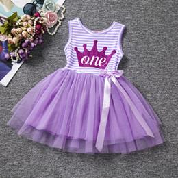 Gilet de bébé coréen en Ligne-ins chaud vente coréenne enfants robe d'été fille fille bande lettre lettre gilet robe enfants tulle dentelle robe tutu