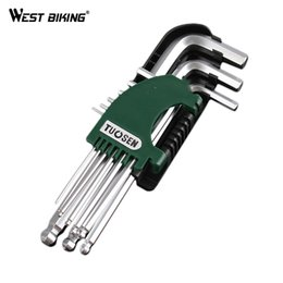 Wholesale Metric Combination Wrenches - WEST BIKING Bike Metric Combination Hex Allen Key Wrench Sets Key Repair Tool Cycling Spanner Set 9pcs Hexagon Allen Key Wrench