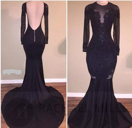 Wholesale Stretch Sequin Long Dresses - Hot Sale Elegant Black Illusion Prom Dresses 2017 Sexy Backless Mermaid Long Sleeves Stretch Long Evening Party Gowns with Appliques Beaded