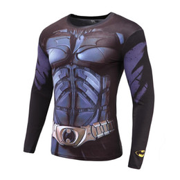 Wholesale Long Sleeve T Shirts Wholesale - Super-hero 3D Print T-Shirt Sleeve Long Sleeve Shirt Top Black Compression Tight Elastic force Clothing Male T-shirt Free delivery