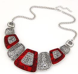 Wholesale Celtic Tribal - Wholesale-Fashion Hollow Gypsy Statement Vintage Necklace Ethnic Tibet Tribal Jewelry Female Maxi Necklace 2N375