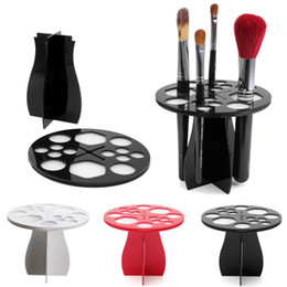 Wholesale Stand Holder Acrylic - 1pcs Useful Acrylic Cosmetic Dryer Makeup Brushes Holder Stand Cosmetic Dryer Holder Puff Eye Shadow Pen Storage