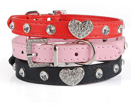 Wholesale Top Dog Leather Collars - Top quality Bling Rhinestone Crystal Leather Pet Dog Cat Collars Adjustable Collar with Pendant 200pcs
