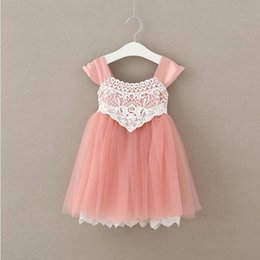 Wholesale Tutu Pink Trim - Summer Girls Dress Dust Pink Girls Tulle Dress Lace Trim Baby Clothes Chiffon Tutu Girls Party Clothes Factory Kids Cloth